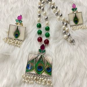 Peacock Necklace and Earrings